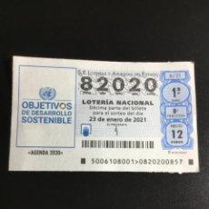 Lotería Nacional: DECIMO LOTERÍA 2021 SORTEO 6/21 NÚMERO 82020. Lote 237300630