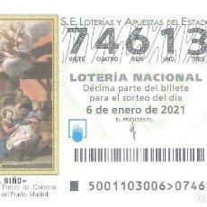 Loterie Nationale: 1 DECIMO LOTERIA SABADO 6 ENERO 2021 - 1/21 - EL NIÑO - NATIVIDAD - PIETRO DA CORTONA MUSEO PRADO. Lote 237404540