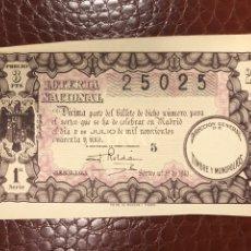 Lotaria Nacional: LOTERIA AÑO 1941 SORTEO 19. Lote 237987730