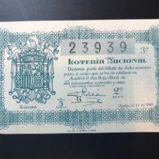 Lotteria Nationale Spagnola: LOTERIA AÑO 1945 SORTEO 11. Lote 238456510