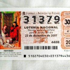 Lotería Nacional: DÉCIMO LOTERÍA NAVIDAD 31379. Lote 239988660