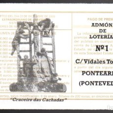 Loterie Nationale: LOTERÍA NACIONAL - ADMINISTRACIÓN Nº 1 DE PONTEAREAS (PONTEVEDRA) - AÑO 2020 -. Lote 240132270