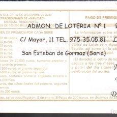Lotteria Nationale Spagnola: LOTERÍA NACIONAL - ADMINISTRACIÓN Nº 1 DE SAN ESTEBAN DE GORMAZ (SORIA) - NAVIDAD 2020 -. Lote 240555395