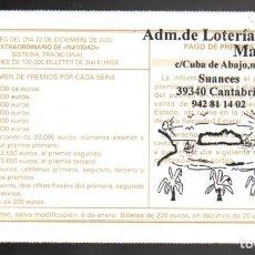 Lotteria Nationale Spagnola: LOTERÍA NACIONAL - ADMINISTRACIÓN Nº 1 DE SUANCES (CANTABRIA) - NAVIDAD 2020 -. Lote 240612740