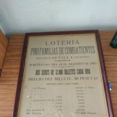 Lotería Nacional: CARTEL LOTERIA PRO FAMILIAS DE COMBATIENTES 23 AGOSTO 1937. Lote 240843310