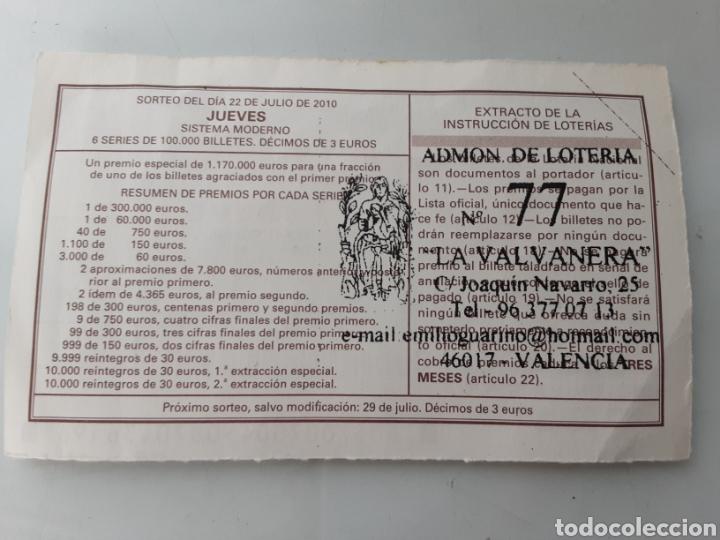 Lotería Nacional: Decimo 22 julio de 2010 - Foto 2 - 241185175