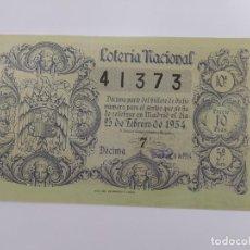 Lotteria Nationale Spagnola: DECIMO DE LOTERIA NACIONAL DEL AÑO 1954, SORTEO 6. Lote 241306225