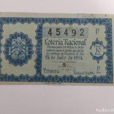 Lotteria Nationale Spagnola: DECIMO DE LOTERIA NACIONAL DEL AÑO 1954, SORTEO 21. Lote 241311145