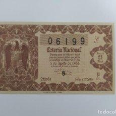 Lotteria Nationale Spagnola: DECIMO DE LOTERIA NACIONAL DEL AÑO 1954, SORTEO 22. Lote 241311235