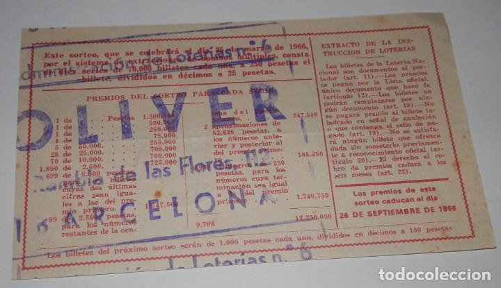 Lotería Nacional: DECIMO LOTERIA DEL AÑO DE 1966 - SORTEO Nº 9 DE 1966 - Foto 2 - 242404035