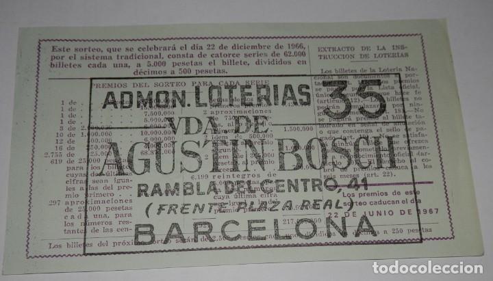 Lotería Nacional: DECIMO LOTERIA DEL AÑO DE 1966 - SORTEO Nº 36 DE 1966 - Foto 2 - 242404205