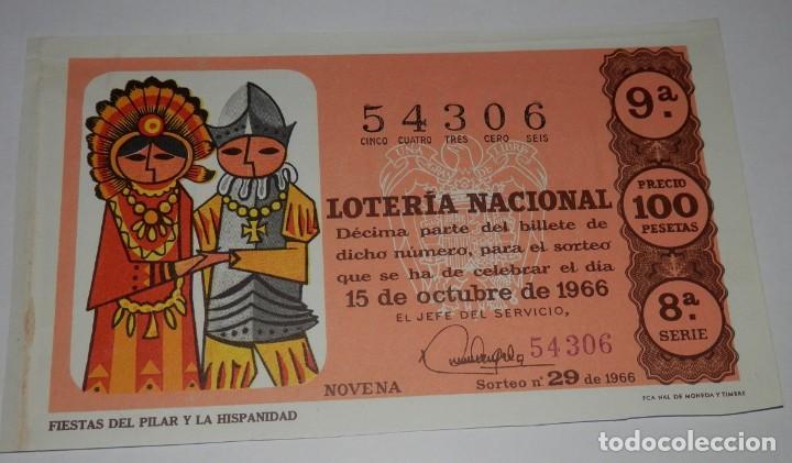DECIMO LOTERIA DEL AÑO DE 1966 - SORTEO Nº 29 DE 1966 (Coleccionismo - Lotería Nacional)
