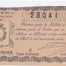 Loterie Nationale: SORTEO 11 DE 1905. Lote 242908430
