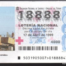 Lotteria Nationale Spagnola: LOTERÍA NACIONAL - 17 DE ABRIL DE 1999 - SORTEO 31 - CRUZ ROJA ESPAÑOLA -. Lote 242980335