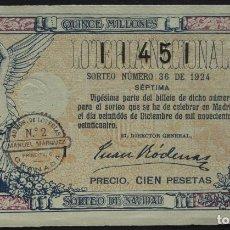 Lotteria Nationale Spagnola: LOTERÍA NACIONAL AÑO 1924. SORTEO Nº 36. 7ª. 100 PTS. Nº 11451. Lote 243047830