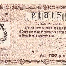 Loterie Nationale: SORTEO 14 DE 1908. Lote 243190930