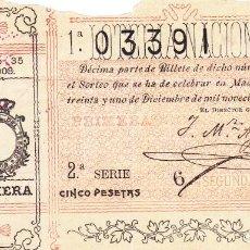 Lotaria Nacional: SORTEO 35 DE 1908. Lote 243682735