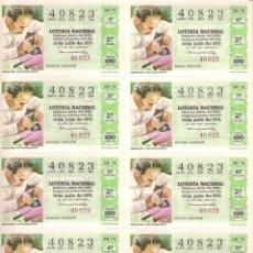 Lotería Nacional: AÑO 1975 SORTEO 28 PLIEGO DE 10 DECIMOS LOTERIA NACIONAL DEL SABADO. Lote 243909325