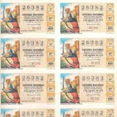 Lotería Nacional: AÑO 1975 SORTEO 31 PLIEGO DE 10 DECIMOS LOTERIA NACIONAL DEL SABADO. Lote 243909485