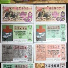 Lotería Nacional: LOTE 8 DECIMOS LOTERIA CRUZ ROJA AÑOS 1971 A 1993. Lote 243912750