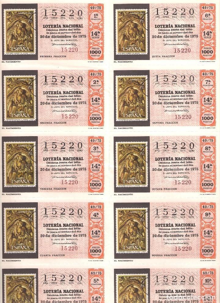 AÑO 1975 SORTEO 49 PLIEGO DE 10 DECIMOS LOTERIA NACIONAL DEL SABADO (Coleccionismo - Lotería Nacional)