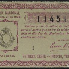 Lotería Nacional: LOTERÍA NACIONAL AÑO 1923. SORTEO Nº 31. PRIMERA SERIE, 5ª. 3 PTS. Nº 11451. Lote 244650040