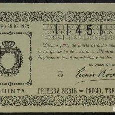 Lotería Nacional: LOTERÍA NACIONAL. 1922. SORTEO 25, PRIMERA SERIE, 5ª. 3 PTS. Nº 11451. Lote 244656725