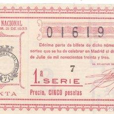 Lotería Nacional: SORTEO 21 DE 1933. Lote 244771980