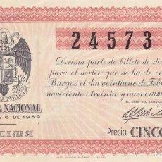 Lotería Nacional: SORTEO 6 DE 1939 DE BURGOS.. Lote 244772140