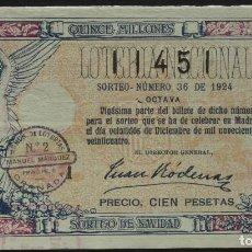 Lotaria Nacional: LOTERÍA NACIONAL. 1924 SORTEO Nº 36, 8ª. 100 PTS. Nº 11451. Lote 244795970
