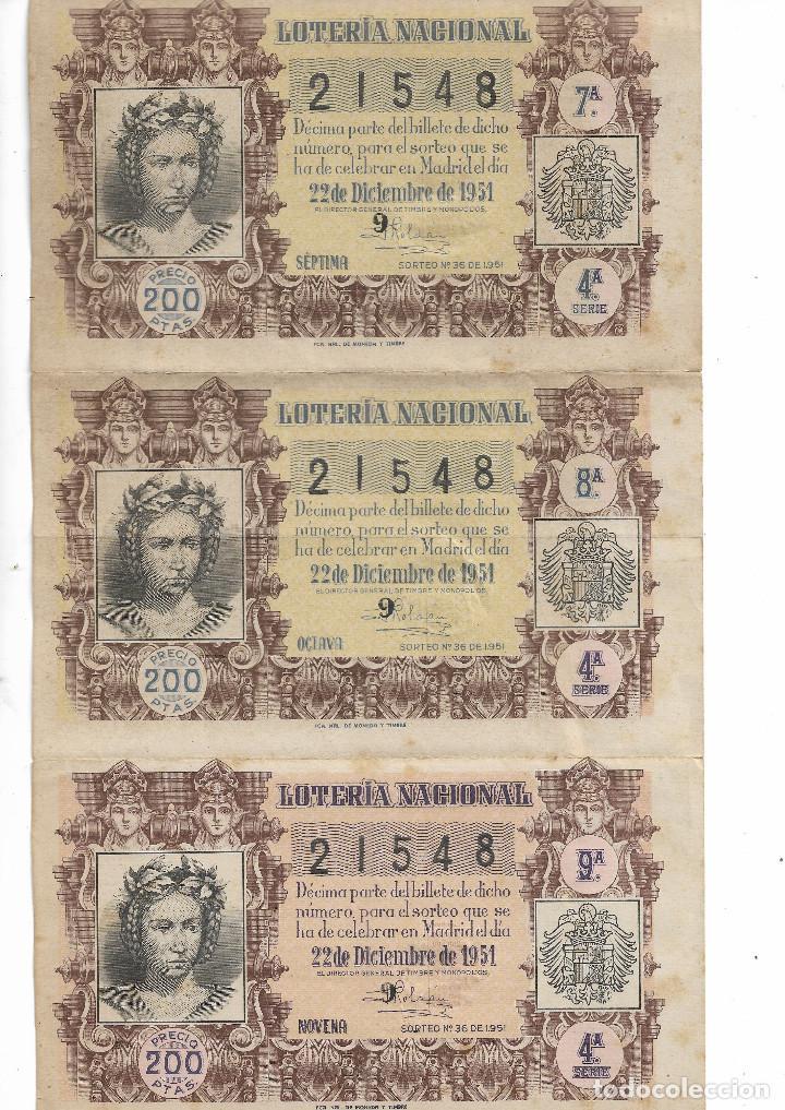 3 DECIMOS DE LOTERÍA NACIONAL 22 DE DICIEMBRE 1951 (Coleccionismo - Lotería Nacional)