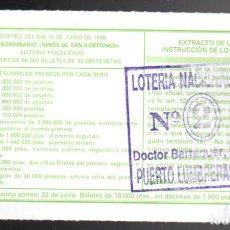 Loterie Nationale: LOTERIA NACIONAL - ADMINISTRACIÓN Nº 2 DE PUERTO LUMBRERAS (MURCIA) - SORTEO 48/96 -. Lote 244944420