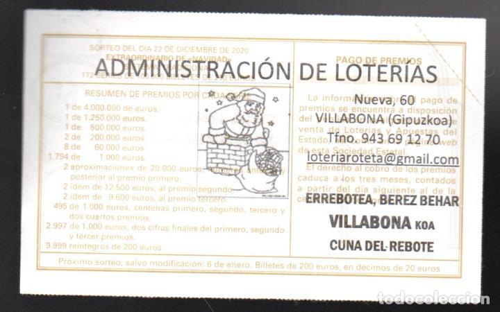 LOTERIA NACIONAL - ADMINISTRACIÓN DE VILLABONA (GIPUZKOA) - SORTEO 102/20 - (Coleccionismo - Lotería Nacional)