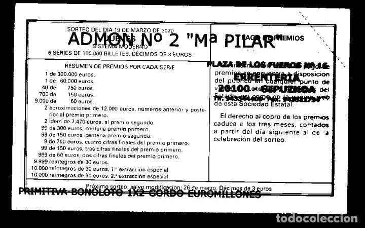 LOTERIA NACIONAL - ADMINISTRACIÓNNº 2 DE ERRENTERIA (GIPUZKOA) - SORTEO 23/20 - (Coleccionismo - Lotería Nacional)
