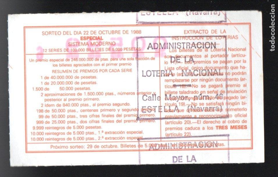 LOTERIA NACIONAL - ADMINISTRACIÓN DE ESTELLA (NAVARRA) - SORTEO 43/88 - (Coleccionismo - Lotería Nacional)