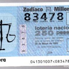 Lotería Nacional: LOTERIA NACIONAL - 22 DE MAYO DE 1993 - SORTEO: 41/93 - ZODIACO: LIBRA -. Lote 245292215