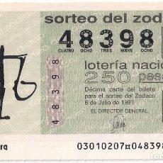 Lotería Nacional: AÑO 1991 SORTEO 30 DECIMO DEL ZODIACO (LIBRA) LOTERIA NACIONAL. Lote 245293385