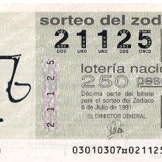 Lotería Nacional: AÑO 1991 SORTEO 30 DECIMO DEL ZODIACO (LIBRA) LOTERIA NACIONAL. Lote 245293420