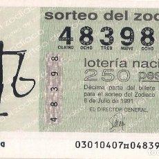 Lotería Nacional: AÑO 1991 SORTEO 30 DECIMO DEL ZODIACO (LIBRA) LOTERIA NACIONAL. Lote 245293470
