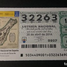 Lotería Nacional: 26 ABRIL 2014. SORTEO 34/14. MAPA DE TENERIFE. TOMAS LÓPEZ. BIBLIOTECA NACIONAL. Nº 32263.. Lote 245371660