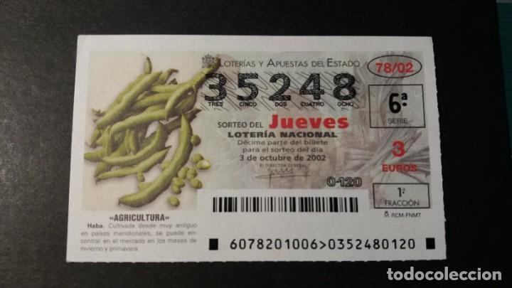 LOTERÍA NACIONAL. AGRICULTURA HABA. SORTEO 78/02. JUEVES 3 DE OCTUBRE 2002. Nº 35248. (Coleccionismo - Lotería Nacional)