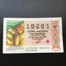 Lotería Nacional: DECIMO LOTERÍA 1987 SORTEO 21/87 NÚMERO 18281 CAPICUA COMPARTIR LOTE. Lote 245492780
