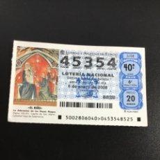 Lotería Nacional: DECIMO LOTERÍA 2008 SORTEO 2/08 NÚMERO 45354 CAPICUA. Lote 245492845
