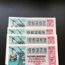 Lotería Nacional: DECIMO LOTERÍA 1979 SORTEO 24/79 NUMEROS CORRELATIVOS. Lote 245493285