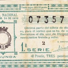 Lotería Nacional: SORTEO 34 DE 1938. Lote 245499440