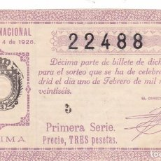 Lotería Nacional: SORTEO 4 DE 1926. Lote 245499575