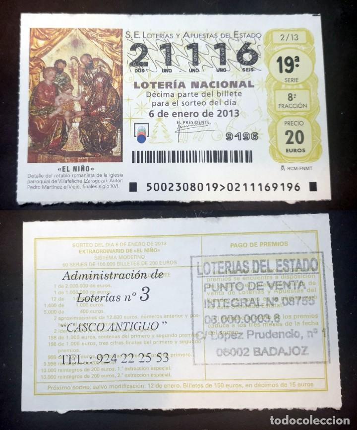 LOTERIA NACIONAL - 6 DE ENERO DE 2013 - Nº 21116 (Coleccionismo - Lotería Nacional)