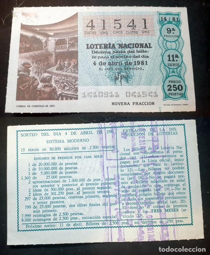 LOTERIA NACIONAL - 4 DE ABRIL DE 1981 - Nº 41541 (Coleccionismo - Lotería Nacional)
