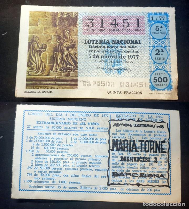 LOTERIA NACIONAL - 4 DE ENERO DE 1977 - Nº 31451 (Coleccionismo - Lotería Nacional)