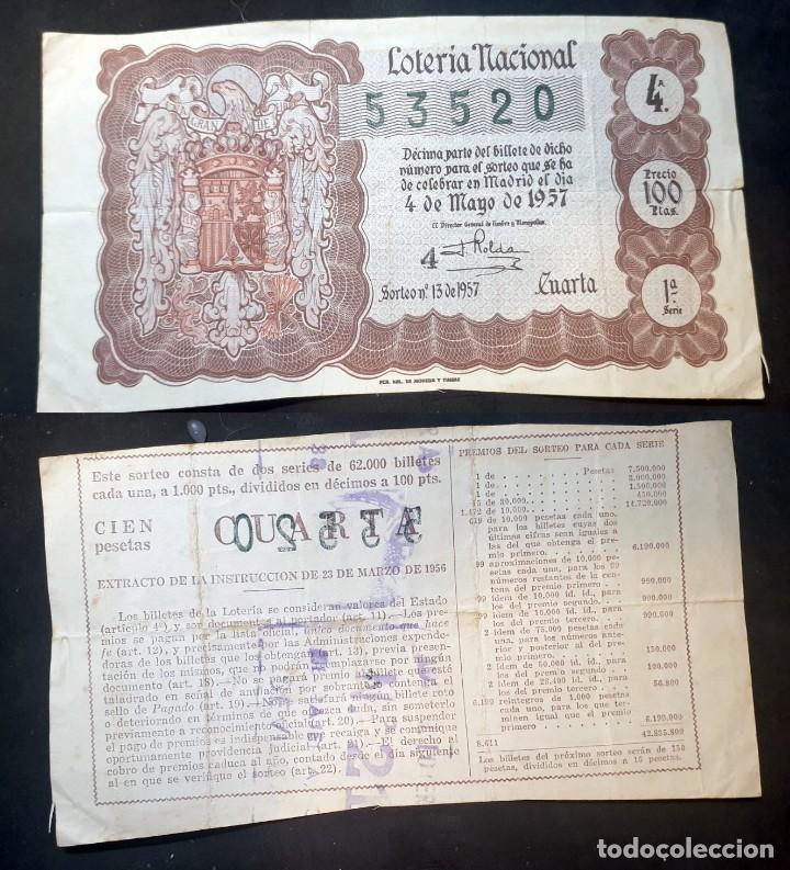 LOTERIA NACIONAL - 4 DE MAYO DE 1957 - Nº 53520 (Coleccionismo - Lotería Nacional)